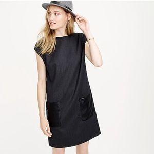 J.Crew Charcoal Black Shift Dress Leather Pockets
